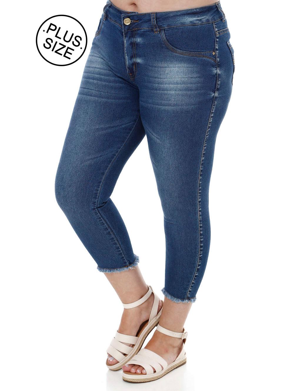8c0b5d69cb85d2 Calça Jeans Capri Plus Size Feminina Amuage Azul
