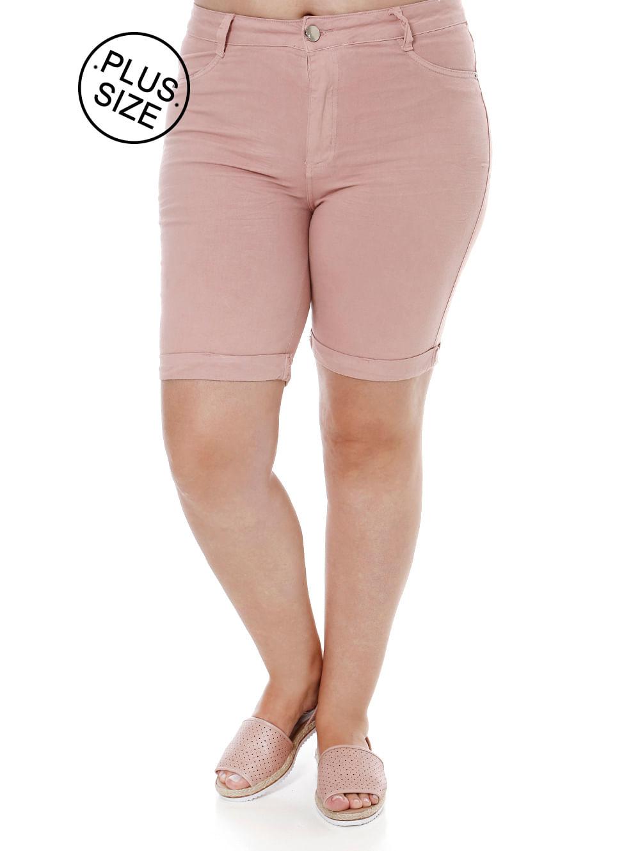 125122876 Bermuda Sarja tec Plano Plus Size Feminino Cambos Rosa - Lojas Pompeia
