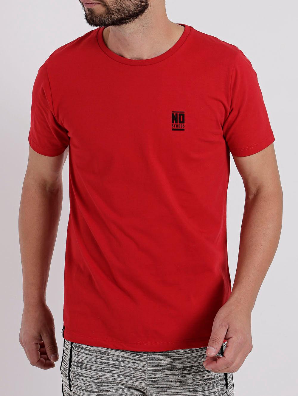 913057ab8 Camiseta Manga Curta Masculina No Stress Vermelho - Lojas Pompeia