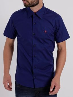 Camisa-Slim-Manga-Curta-Masculina-Azul-Marinho