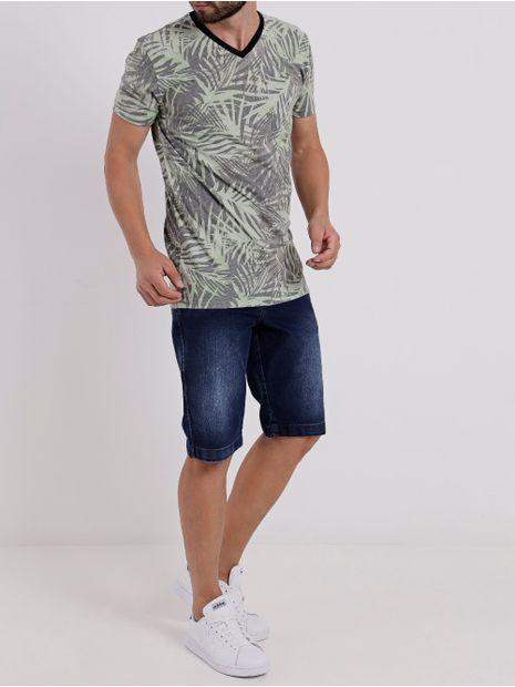 Camiseta-Manga-Curta-Masculina-Verde-cinza-P