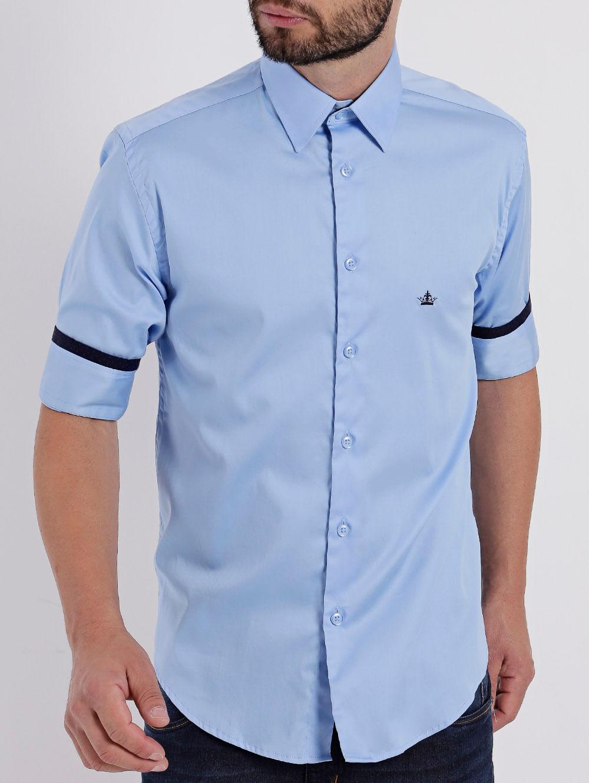 1a1ee830be Camisa Manga 3 4 Masculina Azul - Lojas Pompeia
