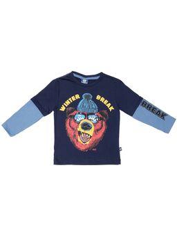 Camiseta-Manga-Longa-Infantil-para-Menino---Azul-Marinho