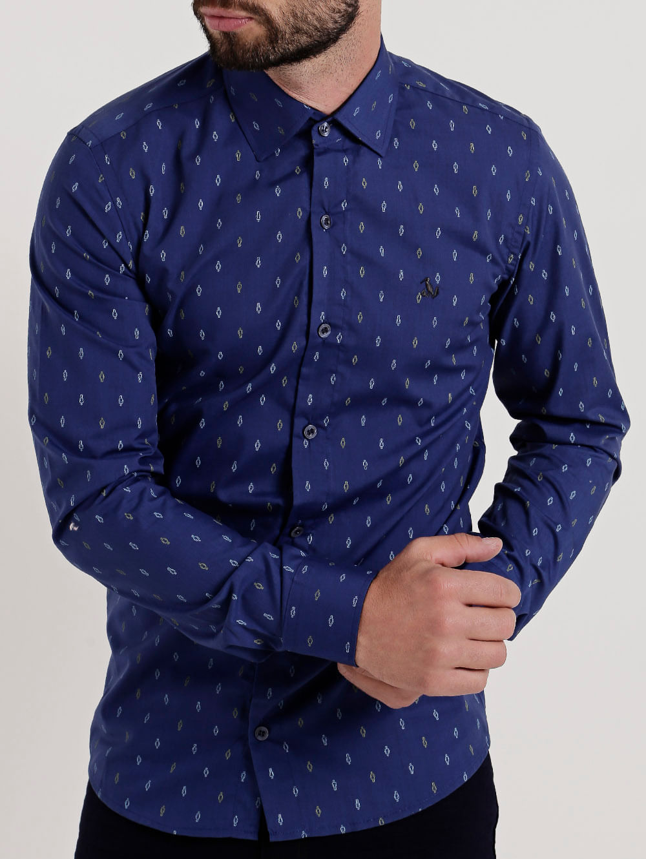 d59a59bc3b Camisa Slim Manga Longa Masculina Azul Marinho - Lojas Pompeia