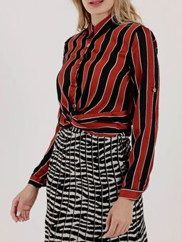 Camisa-Manga-Longa-Feminina-Vermelho-preto-P