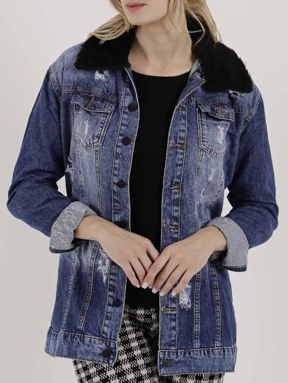70c0a1fb9 Jaqueta Jeans Destroyed Feminina Azul - Lojas Pompeia