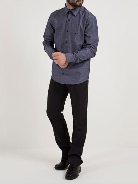 Camisa-Slim-Manga-Longa-Masculina-Azul-Marinho