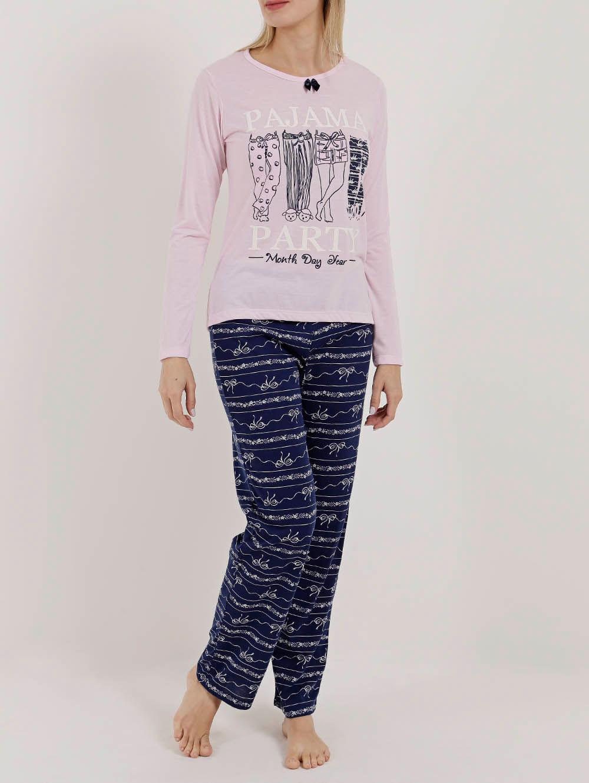 036533157 Pijama Longo Feminino Rosa azul - Lojas Pompeia