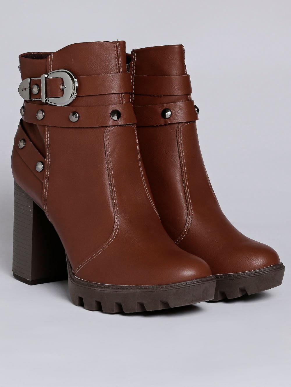 52373b8951 Bota Ankle Boot Feminina Marrom - Lojas Pompeia