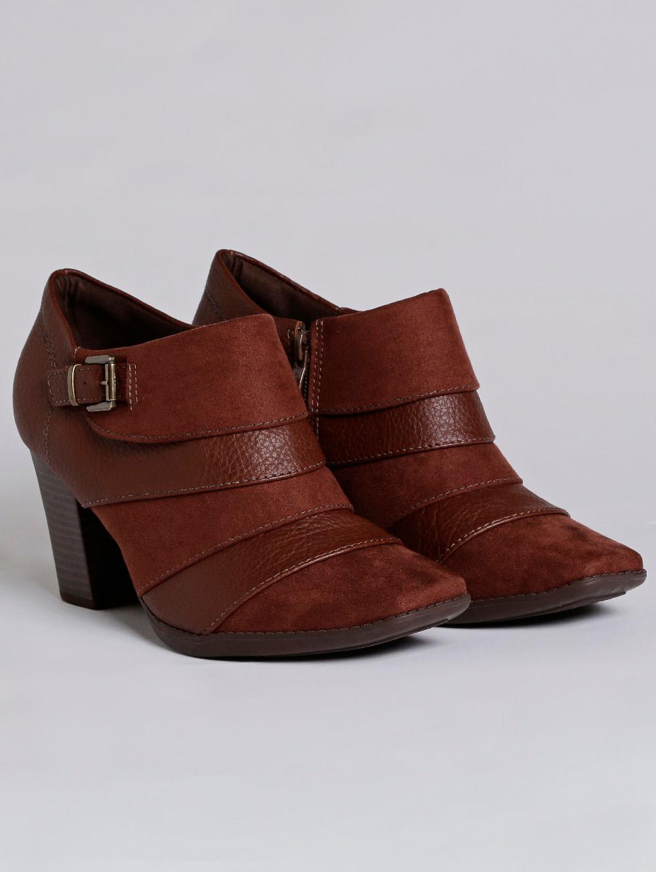 1eea17964 Bota Ankle Boot Feminina Piccadilly Marrom - Lojas Pompeia