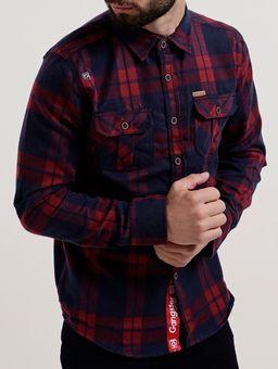 Camisa-Flanela-Manga-Longa-Masculina-Gangster-Vermelho