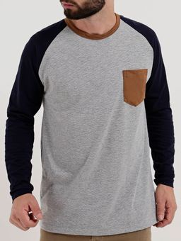 c2bd4fb88 Camiseta Manga Longa Masculina Cinza azul