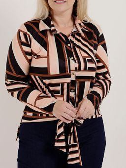 Camisa-Manga-Longa-Plus-Suze-Feminina-Autentique-Preto-salmao-P