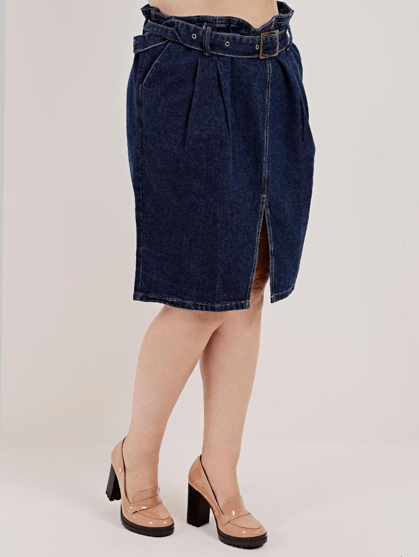 91e956845 Saia Jeans Plus Size Feminina Azul - Lojas Pompeia