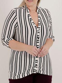 Camisa-Manga-¾-Plus-Size-Feminina-Autentique-Branco
