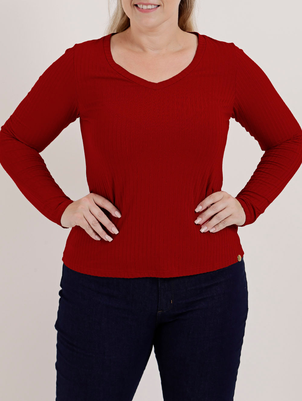 15810260ff Blusa Manga Longa Plus Size Feminina Autentique Vermelho - Lojas Pompeia