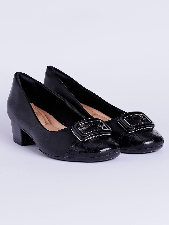b427e4e83 Sapato de Salto Feminino Comfortflex Preto - Lojas Pompeia