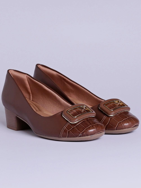 b3b827f4f Sapato de Salto Feminino Comfortflex Marrom - Lojas Pompeia