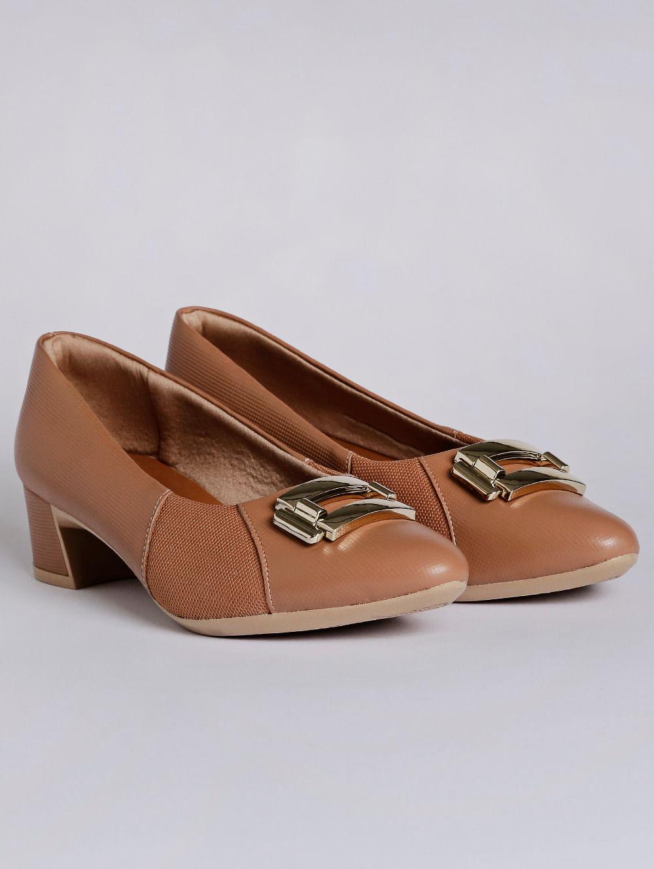73f2331fc Sapato de Salto Feminino Usaflex Caramelo - Lojas Pompeia