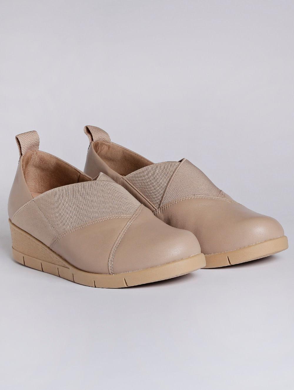 03d24d50e Sapato Anabela Feminino Usaflex Bege - Lojas Pompeia