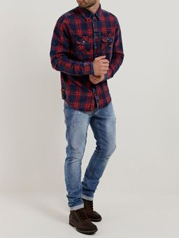 Camisa-Manga-Longa-Masculina-Dixie-Vermelho-azul-P
