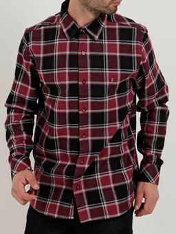 Camisa-Flanela-Slim-Manga-Longa-Masculina-Vermelho
