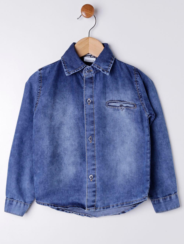 eb566c47d7 Camisa Jeans Manga Longa Infantil Para Menino - Azul - Lojas Pompeia