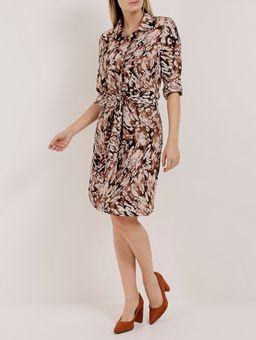 Vestido-Estampado-Manga-¾-Feminino-Autentique-Marrom-bege