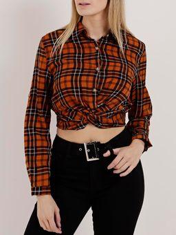 Camisa-Cropped-Xadrez-Feminina-Caramelo-P