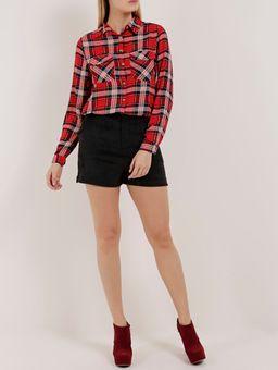 Camisa-Xadrez-Manga-Longa-Feminina-Vermelho-P