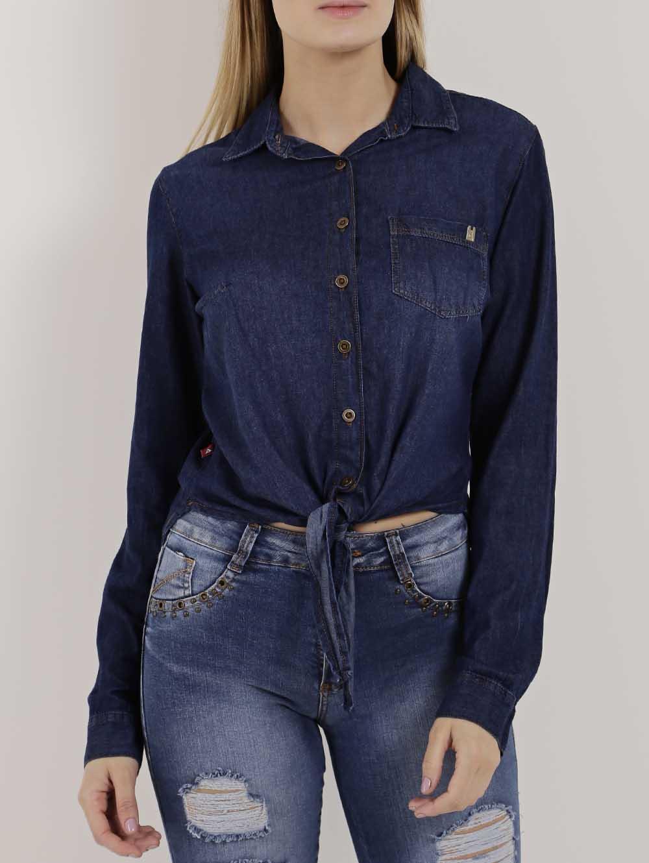 5923c0d7bf Camisa Jeans Manga Longa Feminina Azul - Lojas Pompeia
