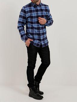 Camisa-Flanela-Slim-Manga-Longa-Masculina-Azul-Claro