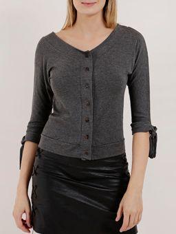Camisa-Manga-3-4-Feminina-Cinza-P