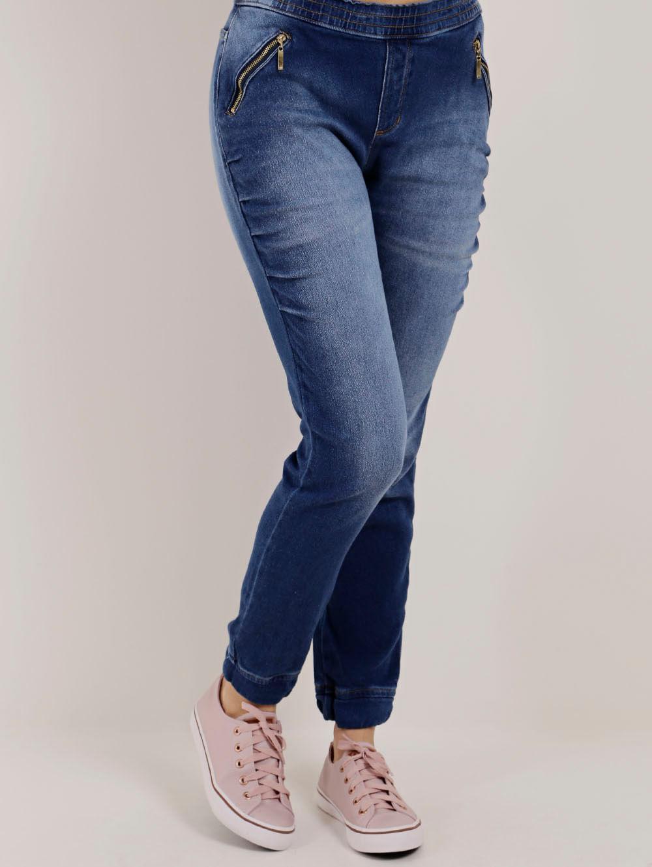 3c186c3d1 Calça Jogger Jeans Feminina Azul - Lojas Pompeia