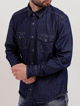 Camisa-Slim-Jeans-Manga-Longa-Masculina-Cook's-Azul