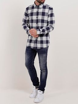 Camisa-Flanela-Manga-Longa-Masculina-Azul-Marinho-branco-P
