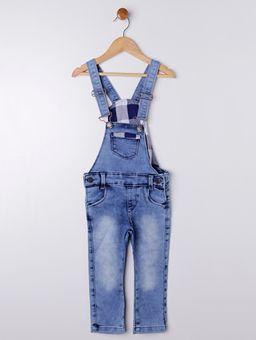 bb222e955 Macacão Jardineira Jeans Infantil Para Menino - Azul