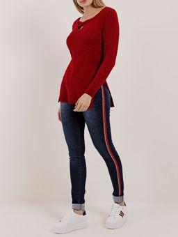 Blusa-de-Tricot-Alongado-Feminina-Vermelho