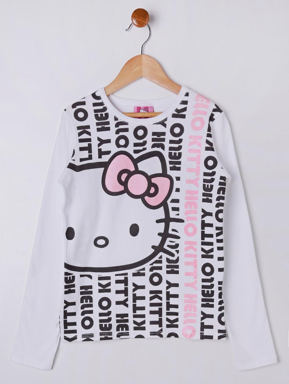 f12b63dbb4 Blusa Manga Longa Hello Kitty Juvenil Para Menina - Branco - Lojas ...