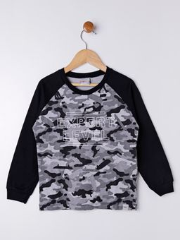 Camiseta-Camuflada-Manga-Longa-Infantil-para-Menino---Preto