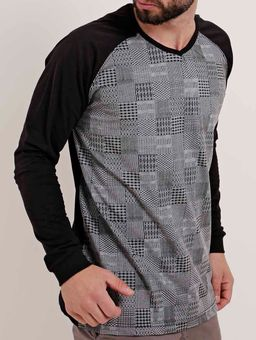 Camiseta-Manga-Longa-Masculina-Dixie-Cinza-preto-P