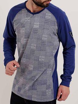 Camiseta-Manga-Longa-Masculina-Dixie-Cinza-azul-P