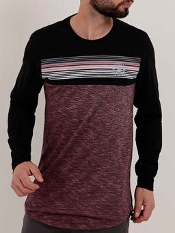 Camiseta-Manga-Longa-Masculina-Bordo-preto-P