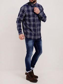 Camisa-Flanela-Xadrez-Manga-Longa-Masculina-Azul-Marinho-P