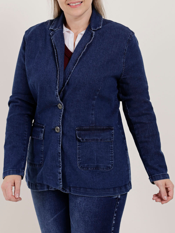 61b7ed2b95a316 Blazer Jeans Plus Size Feminino Azul