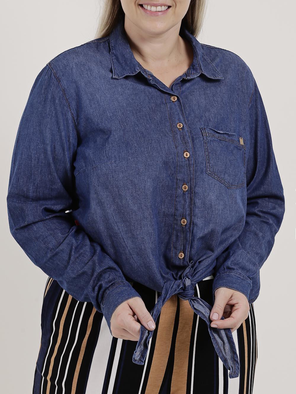 7ddcbb461a Camisa Jeans Manga Longa Plus Size Feminina Azul - Lojas Pompeia
