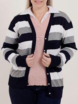 Cardigan-Plus-Size-Feminino-Azul-Marinho-branco-G2