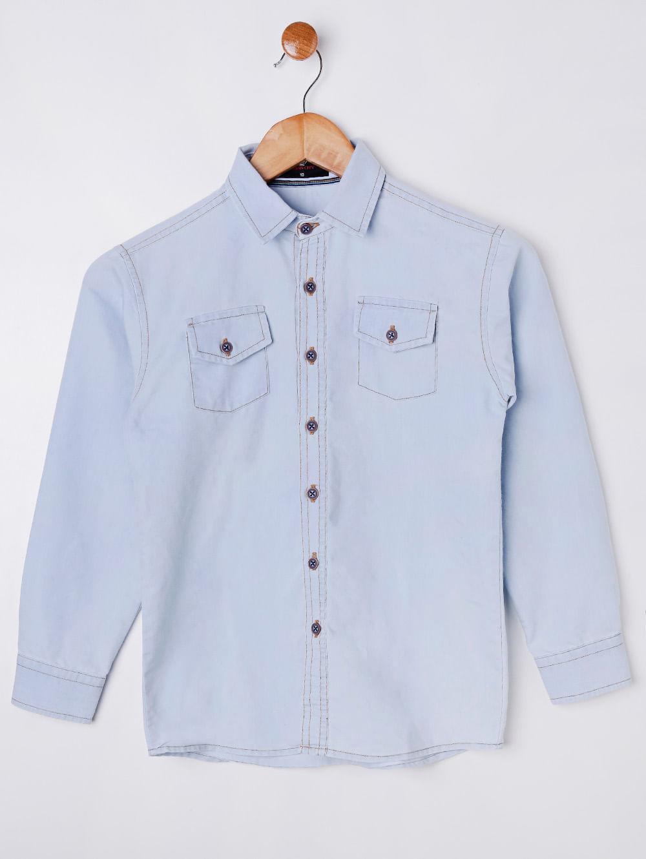 93590794e80d4d Camisa Jeans Manga Longa Juvenil Para Menino - Azul Claro - Lojas ...