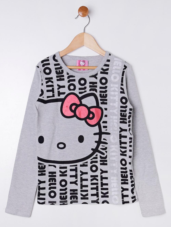 07b500749b Blusa Manga Longa Hello Kitty Juvenil Para Menina - Cinza - Lojas ...
