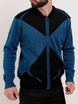 Jaqueta-de-Tricot-Masculina-Azul-preto-P